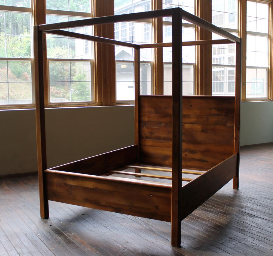 reclaimed barn wood canopy bed - Wood Canopy Bed Frame