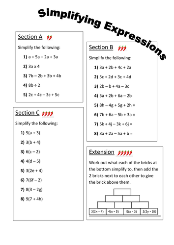 Simplifying Expressions Differentiated Worksheet Teaching Resources Algebraic Expressions Simplifying Expressions Simplifying Algebraic Expressions