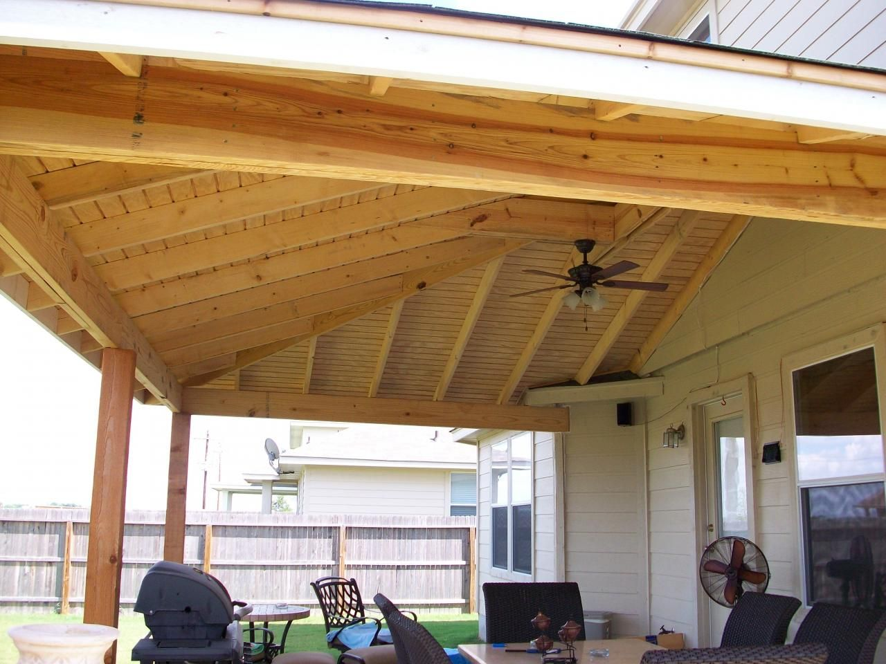 Covered patio designs patio covers pictures video for Enclosed porch plans free