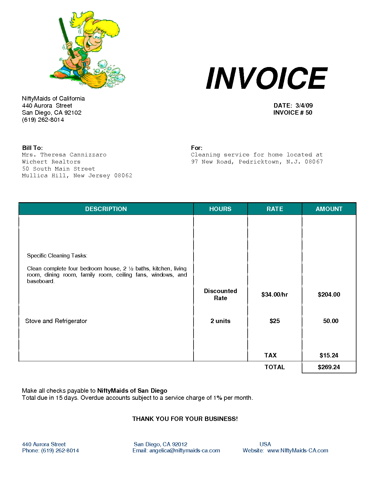 cleaning bill invoice