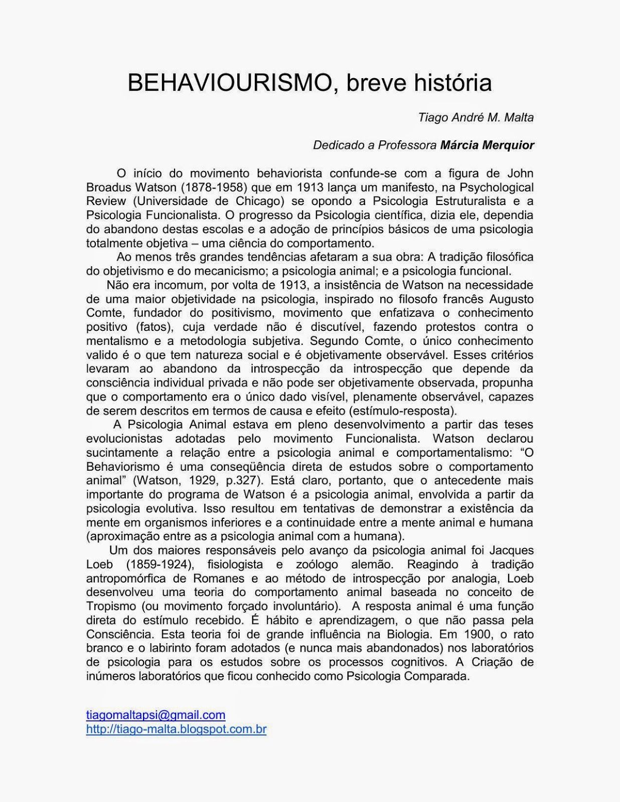 Tiago Malta: BEHAVIOURISMO, breve história