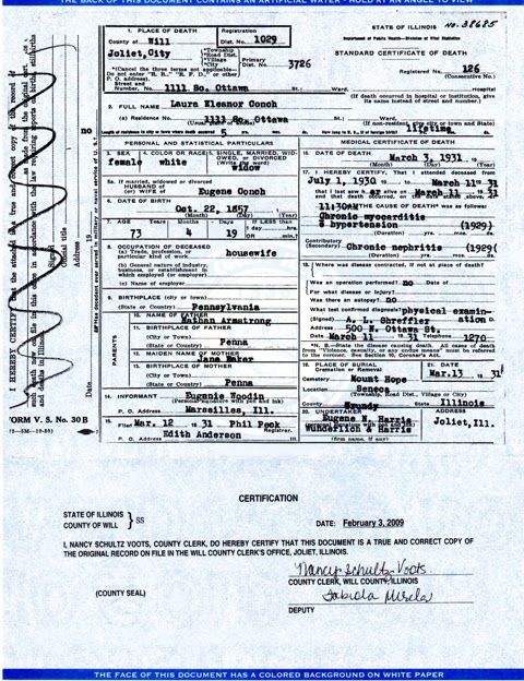 laura armstrong couch 1931 death certificate correction | couch ...