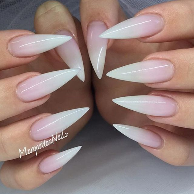 The Shape Stiletto French Nails Manicure Ombre