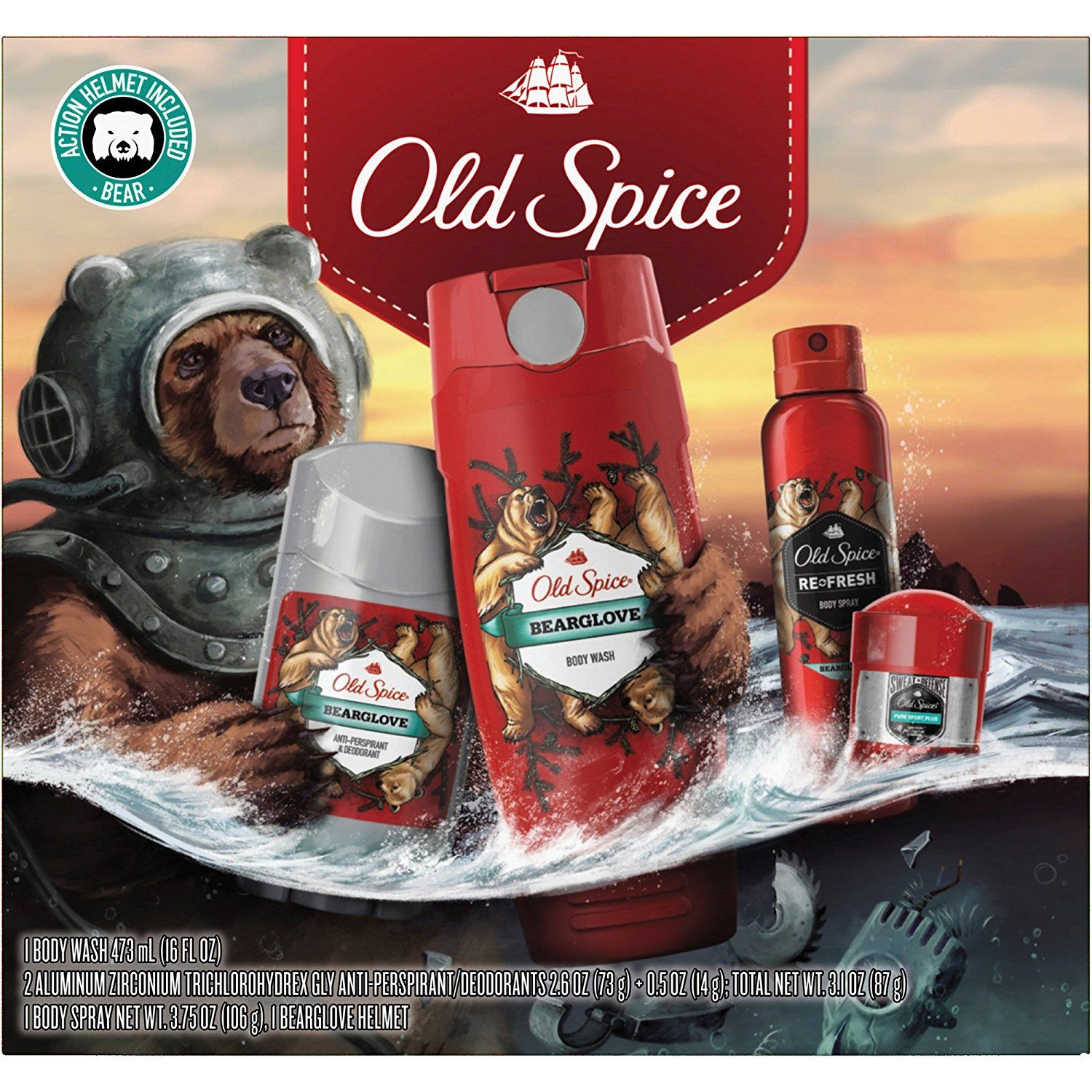 Old spice bearglove holiday gift set 5 pc click on