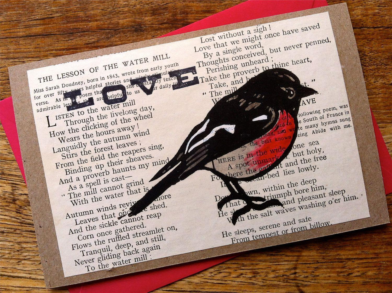 Lino Print Scarlet Robin Greeting Card Love Handmade In