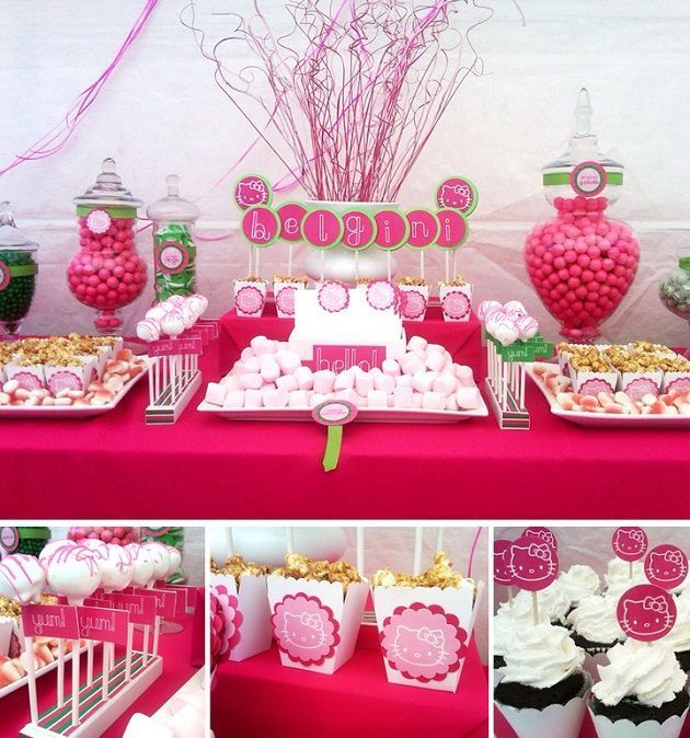 Sweet table decorations pour table gourmande hello kitty - Decoration hello kitty chambre bebe ...