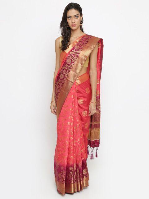 a265316451 Buy The Chennai Silks Classicate Pink Jute Silk Woven Design Banarasi Saree  - Sarees for Women 4331883 | Myntra