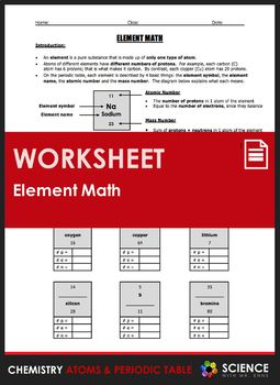 Worksheet element math calculating number of protons neutrons a 2 page worksheet that gives students practice interpreting information on the periodic table urtaz Images