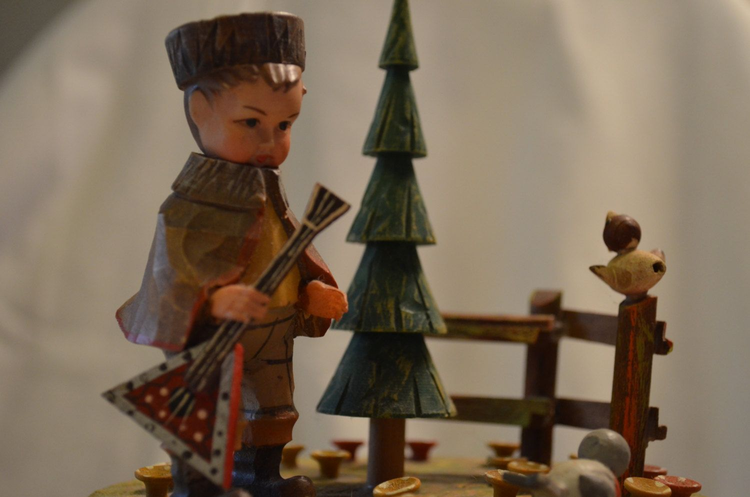 """ANRI Thorens Wooden Music Box Featuring a Boy with His Guitar - Genuine Swiss Movement Plays """"Lara's Theme"""" from Dr. Zhivago by…"""