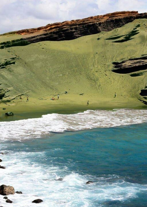 This is Papakolea Beach. It's one of four green sand beaches in the World.
