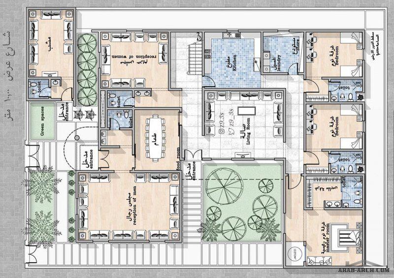 تصميم فيلا دور أرضي فقط بمساحة ٤٢٥م٢ من اعمال معمارى يحي زنقوطي House Layout Plans Model House Plan My House Plans