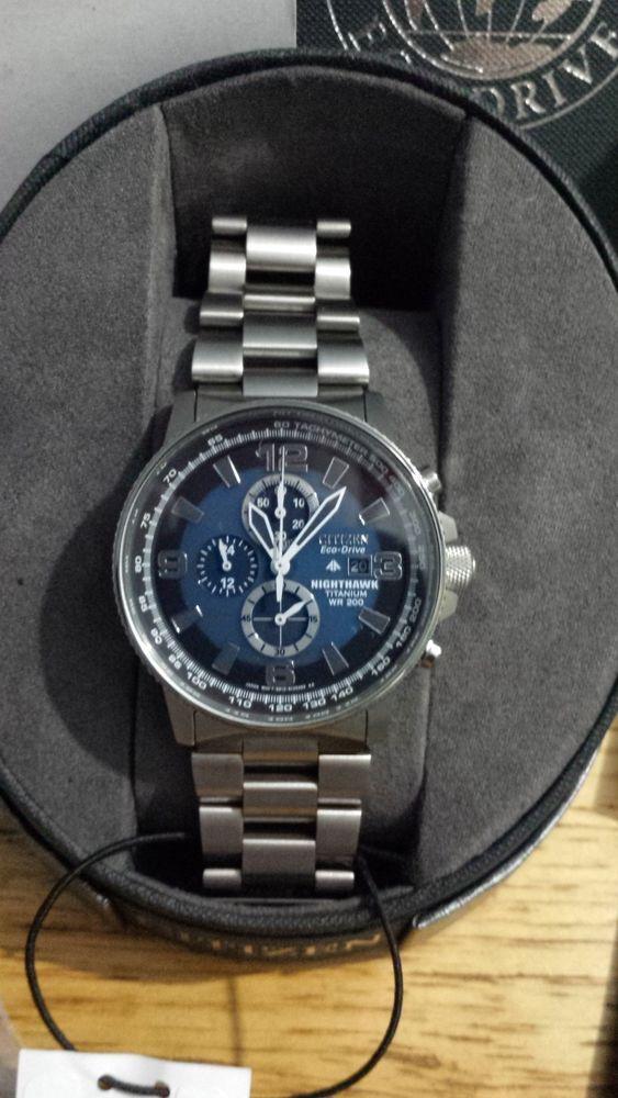 e4ff87345 Blue Black Dial Men Citizen Eco Drive Nighthawk Chronograph Titanium Watch # Citizen