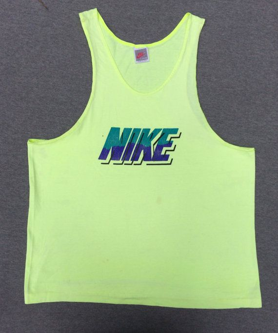 f56461660388e1 NIKE Tank Top 90s Vintage  Nike GREY Tag Large Block Lettering USA ...