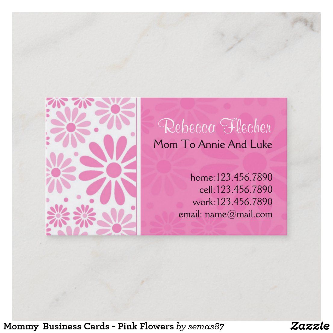 Mommy Business Cards Pink Flowers Zazzle Com Cool Business Cards Unique Business Cards Business Card Size