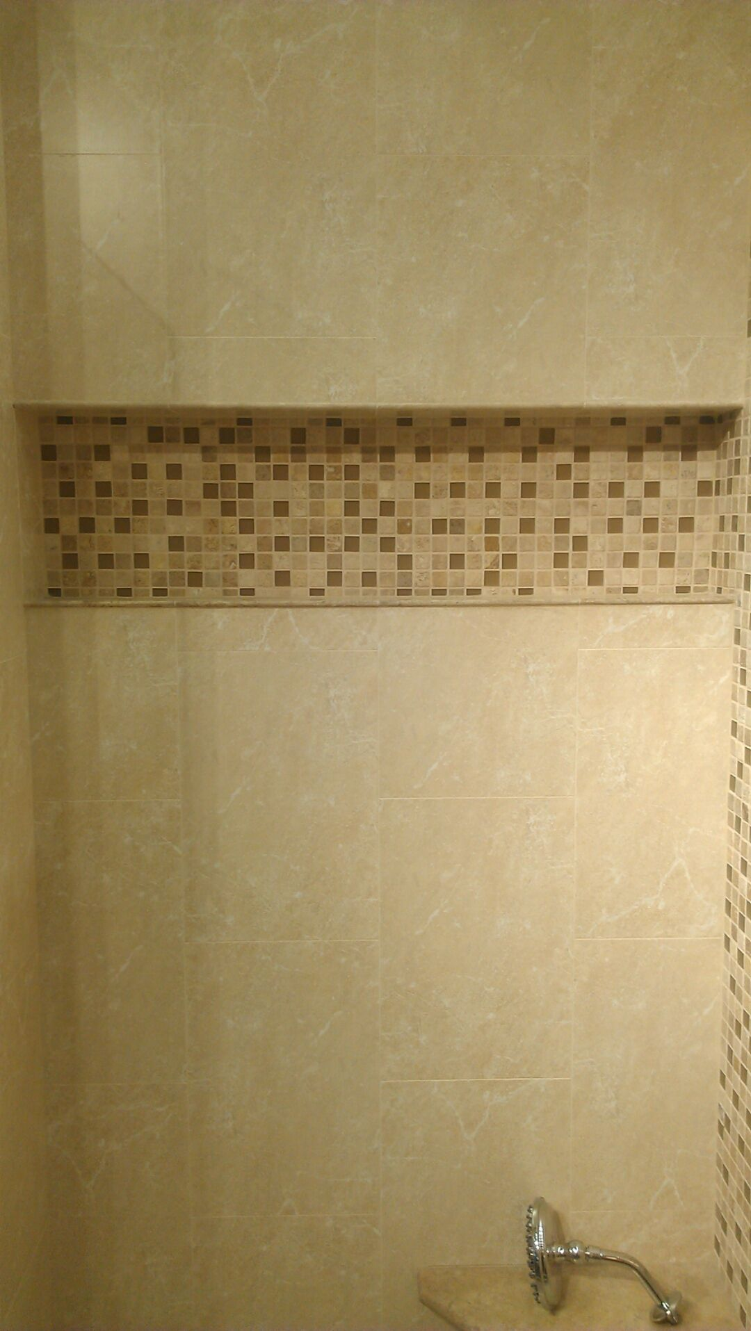 Extra Large Vertical Subway with Glass Mosaic Shower Niche ...