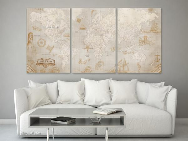 Custom Quote Set Of Canvas Prints Or Push Pin Maps Multi - Large sepia world map