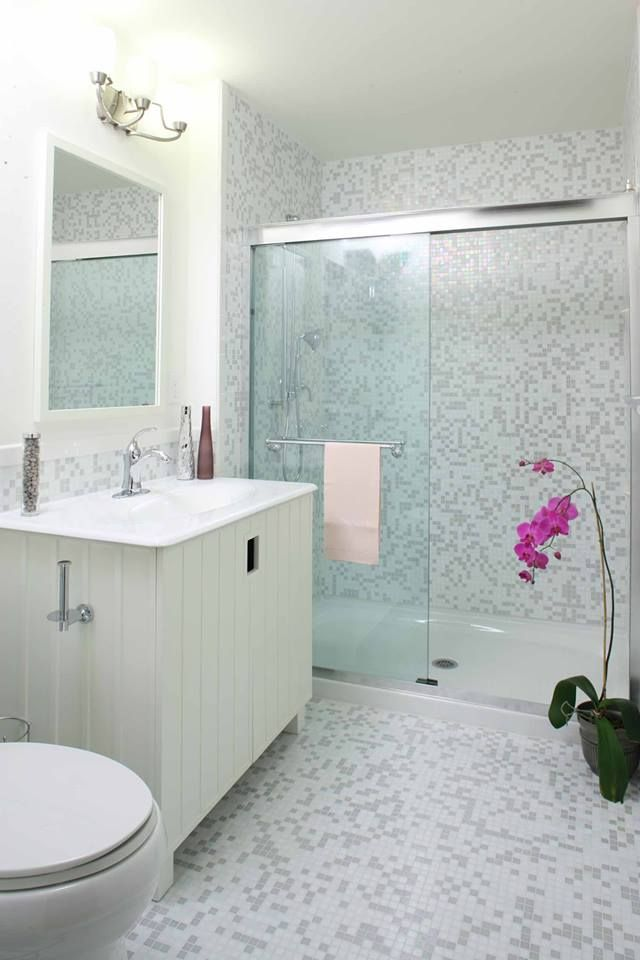 Stunning Bathroom Remodel With Trend Mosaic Tile Throughout By Granite Transformations Commercial Remodeling Mosaic Tile Designs Bathrooms Remodel