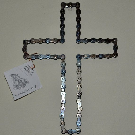 Welded Bicycle Chain-Link Cross, Industrial Style! Hand
