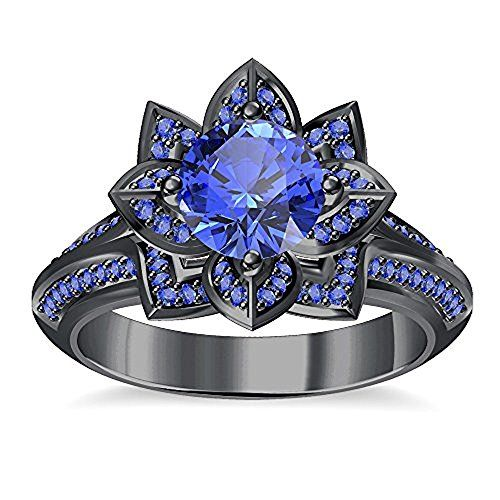 tusakha Round Cut Created Blue Sapphire Engagement Wedding Lotus Flower Ring in 14K Rose Gold Plated