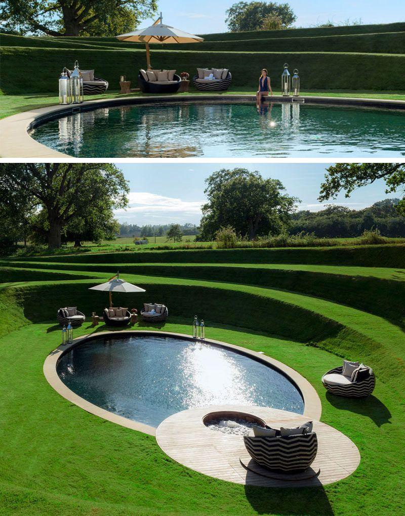 This Sunken Swimming Pool Is Like A Secret Hideaway Garden Swimming Pool Swimming Pools Backyard Pool