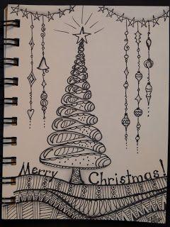Zentangle Inspired Art Christmas Tree Christmas Tree Drawing Zentangle Patterns Christmas Doodles