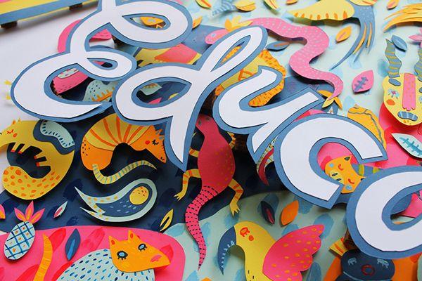 """Adobe for Education on Behance   Project by Sonia Lazo   Tuve la increíble oportunidad de trabajar para Adobe y crear una pieza ilustrativa bajo la temática """"Adobe for Education"""", de manera personal me basé en el concepto de """"Educación Cultural"""", retomando elementos propios de mi cultura y plasmándolos en una pieza creada con recortes de papel y acrílico."""