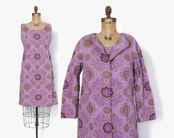 Vintage 60s DRESS SET / 1960s Purple Cotton Thai Sun Dress &