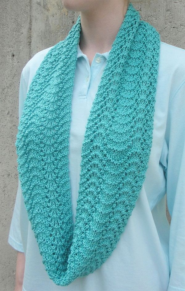 Knitting Pattern For Easy Rippling Infinity Scarf Easy Lace Cowl