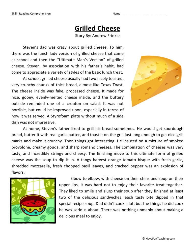 Reading Comprehension Worksheet Grilled Cheese