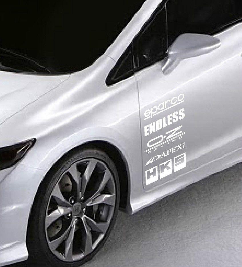 Racing Sponsors Sport Car Sticker Emblem Logo Decal White Pair Natash777 Car Stickers Emblem Logo Sports Cars [ jpg ]