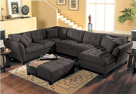 Shop For A Cindy Crawford Home Metropolis Slate Right 4 Pc Sectional Living Room At Room Living Room Sets Furniture Rooms To Go Sectional Rooms To Go Furniture