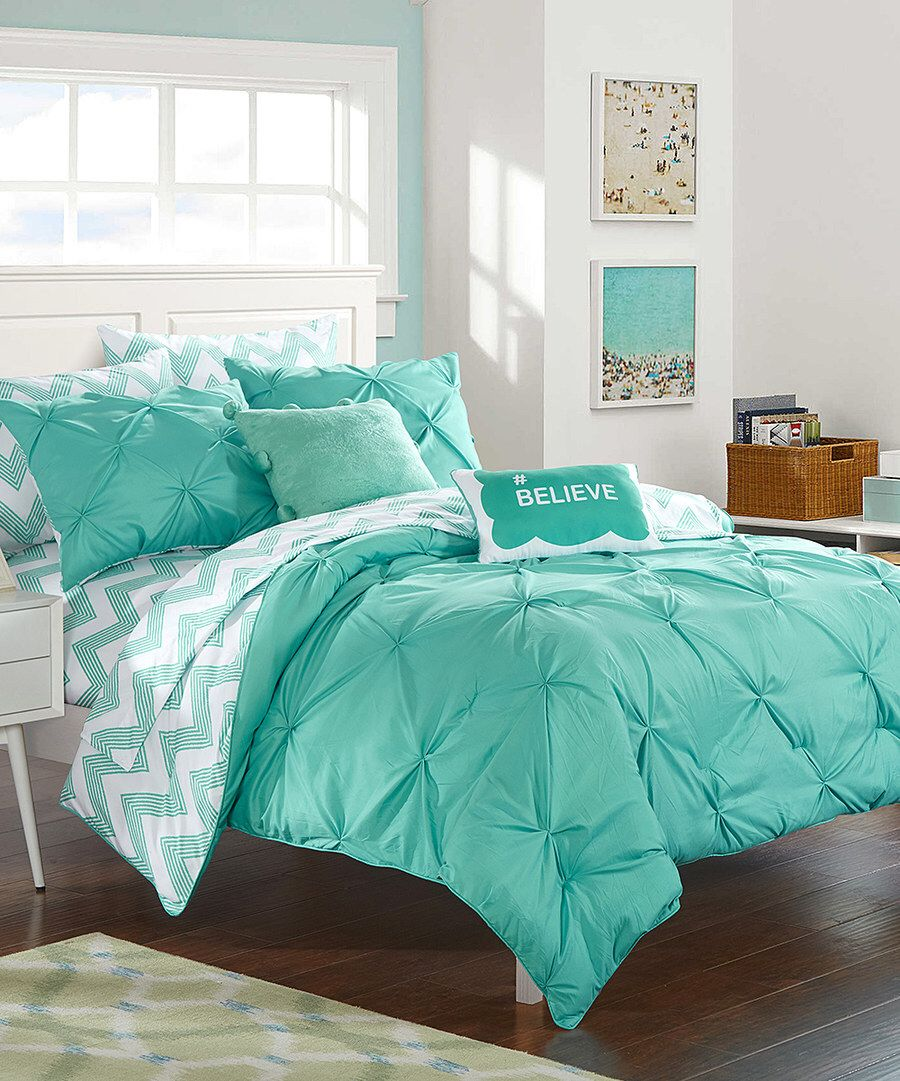 Look at this Aqua Chevron Reversible Microfiber Comforter Set on #zulily today!