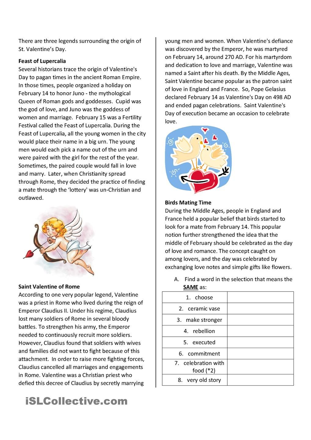 St Valentines Day Reading Comprehension  Reading comprehension