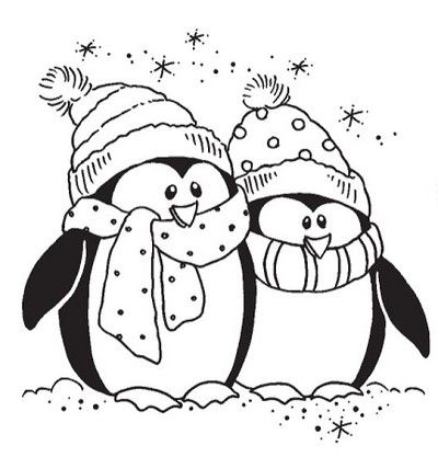 Stampendous Cling Mounted Rubber Stamp Bundled Penguins