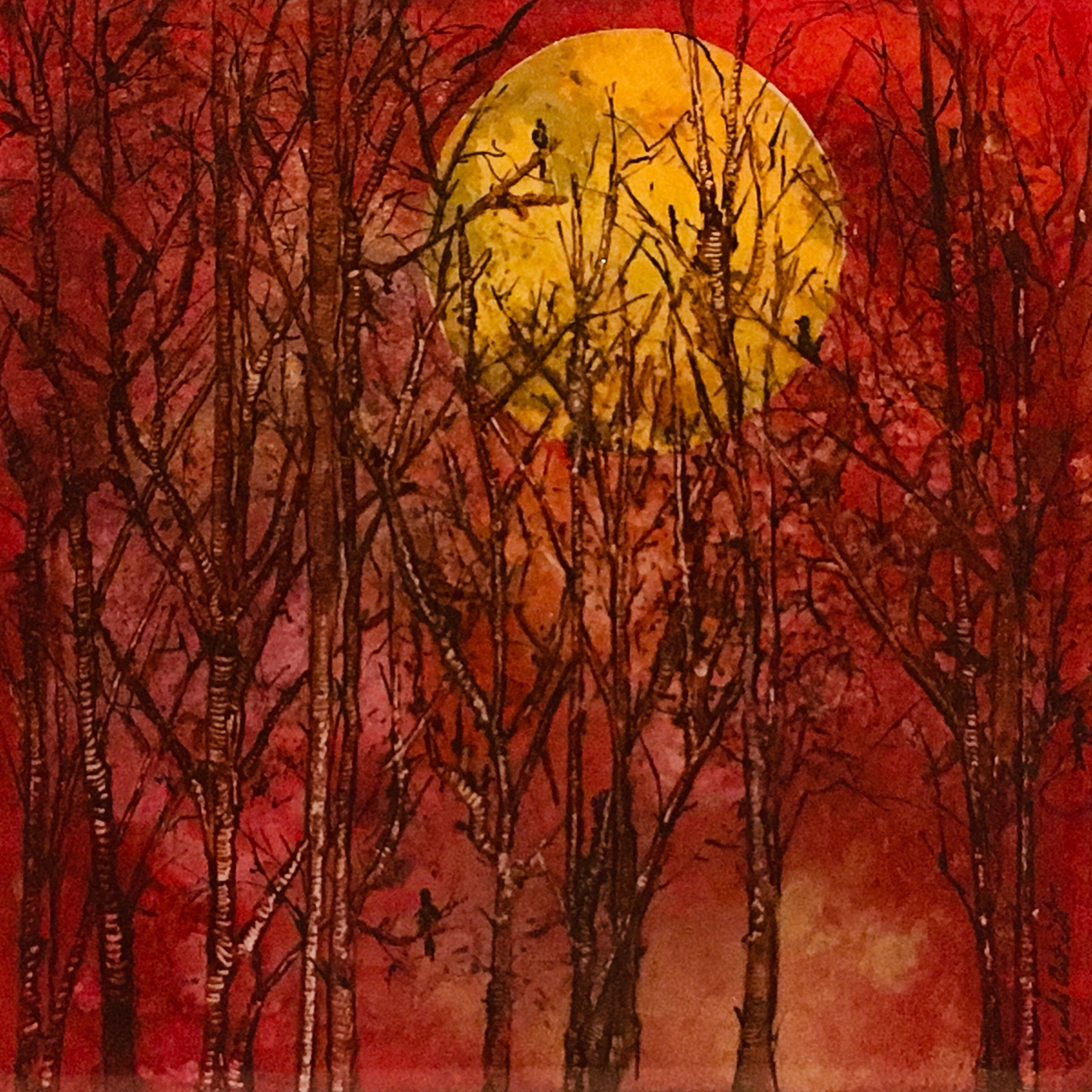 Forest Trees Painting Sunrise Tree Art Red Landscape Painting Alcohol Ink Tree Painting Alcohol Ink Painting Sunri Sunrise Painting Tree Painting Painting