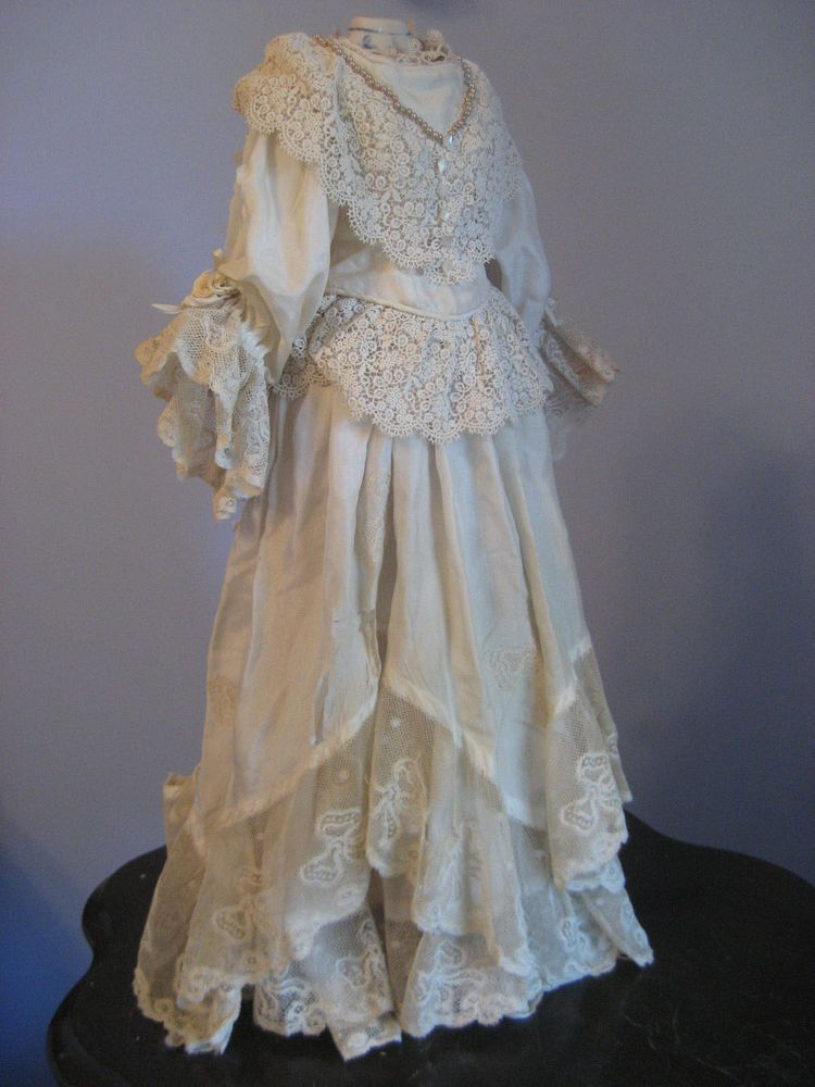 ANTIQUE FRENCH FASHION DOLL SKIRTGOWN ENSEMBLE JACKET TOP BISQUE HEAD LADY DOLL