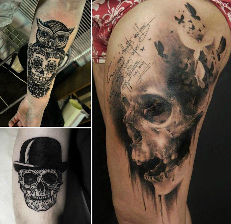 tatouage t te de mort original 40 id es memento mori. Black Bedroom Furniture Sets. Home Design Ideas