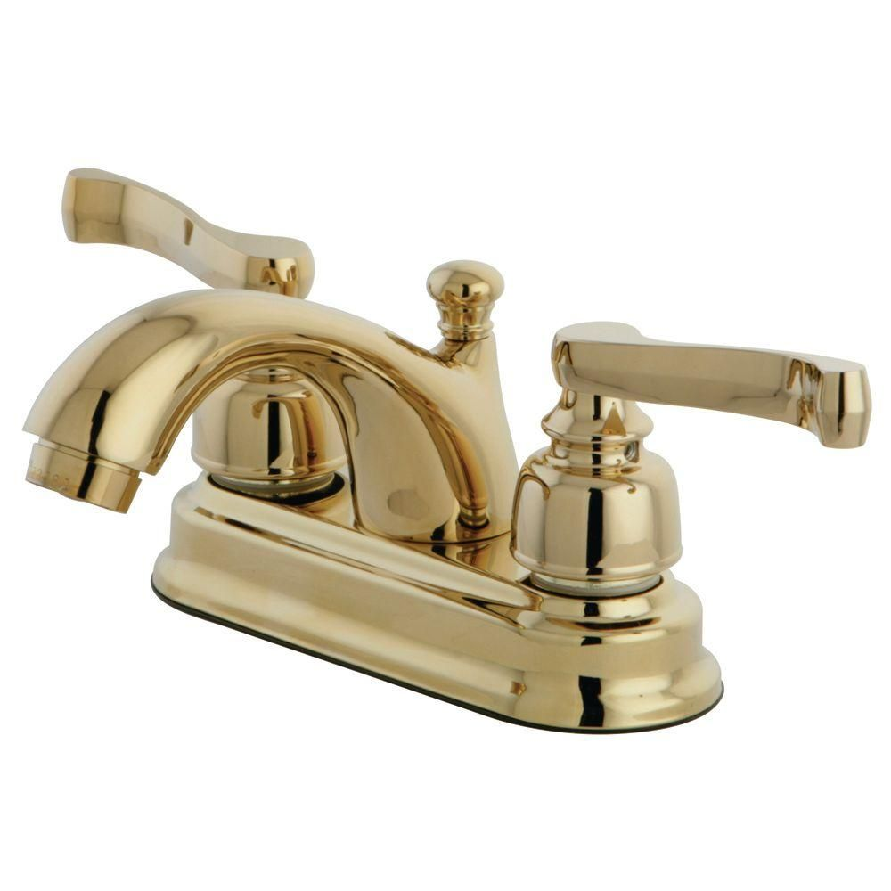 Kingston Brass Royale Classic 4 In Centerset 2 Handle Mid Arc Bathroom Faucet In Polished Brass Hkb5602fl The Home Depot Kingston Brass Polished Brass Brass Bathroom Faucets