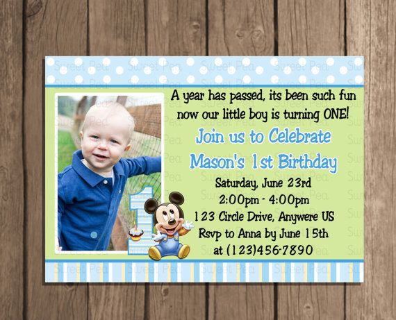 Baby mickey mouse boy 1st first birthday invitation or thank you baby mickey mouse boy 1st first birthday invitation or thank you card stopboris Gallery