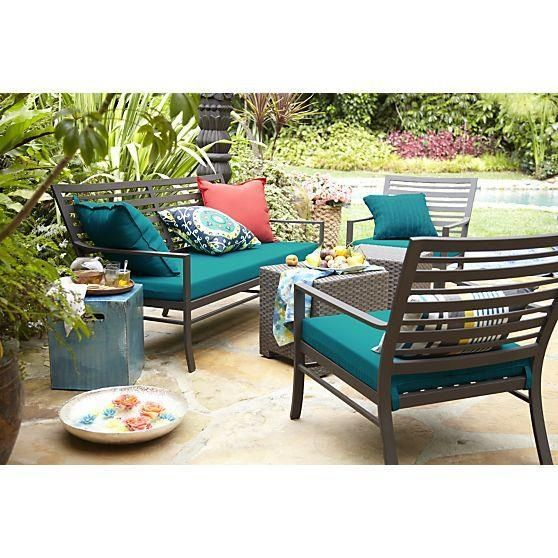 Neutral Patio Furniture With Dark Turquoise Accents Teal Outdoor