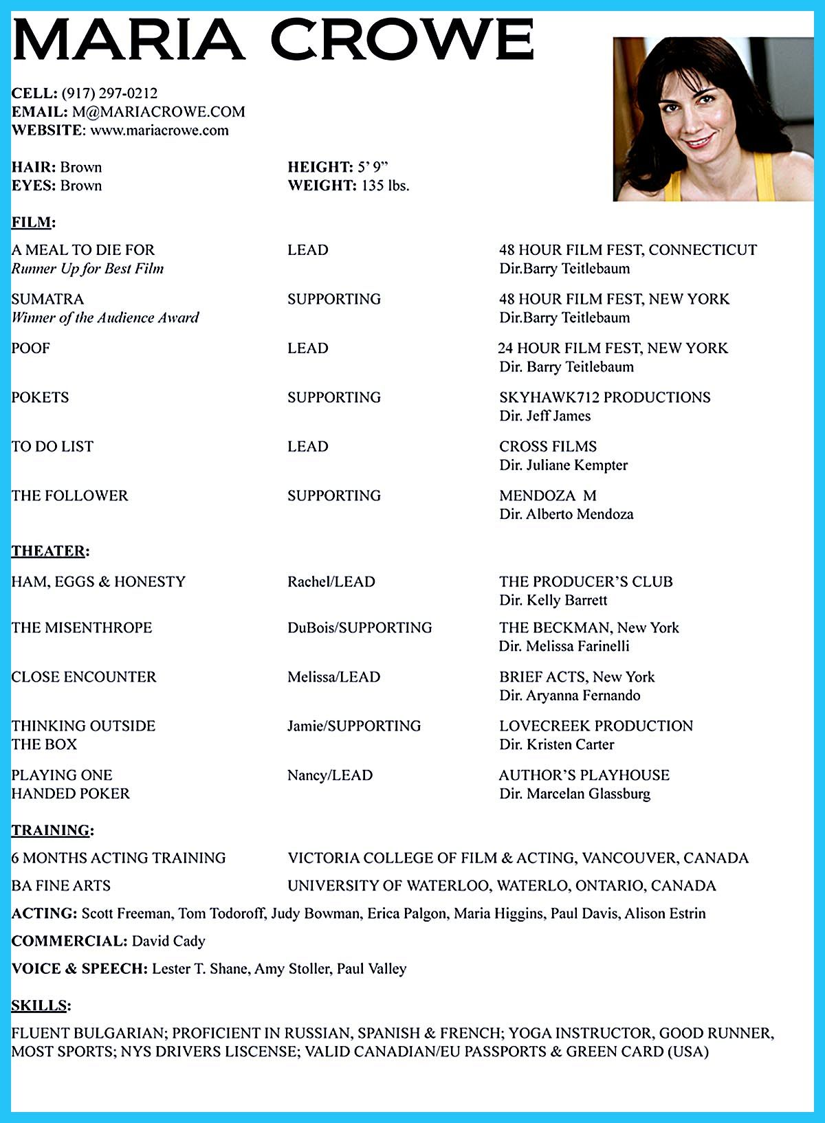 acting resume template - Theater Resume Sample