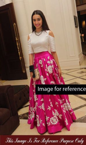 9760bd449c6c19 Designer Shraddha Kapoor Bollywood Pink White Party Wear Lehenga Choli  Skirt (Stitching Free Worth 15 ) Shraddha Kapoor Pink White Party Wear Cut  Out Crop ...