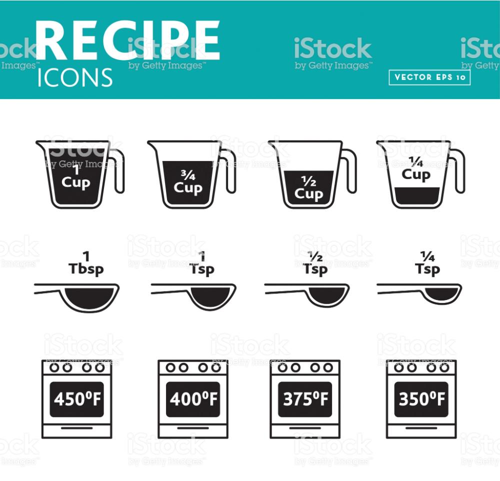 Set Of Recipe Measurement Icons Royalty Free Art Stock Vector Food Icons Recipe Measurements Identity Design Logo