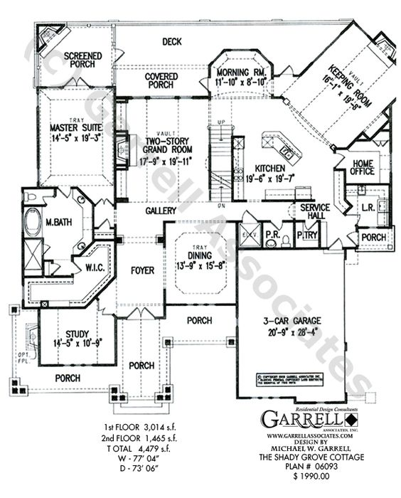 Shady grove cottage house plan 06093 1st floor plan for House plans with keeping rooms