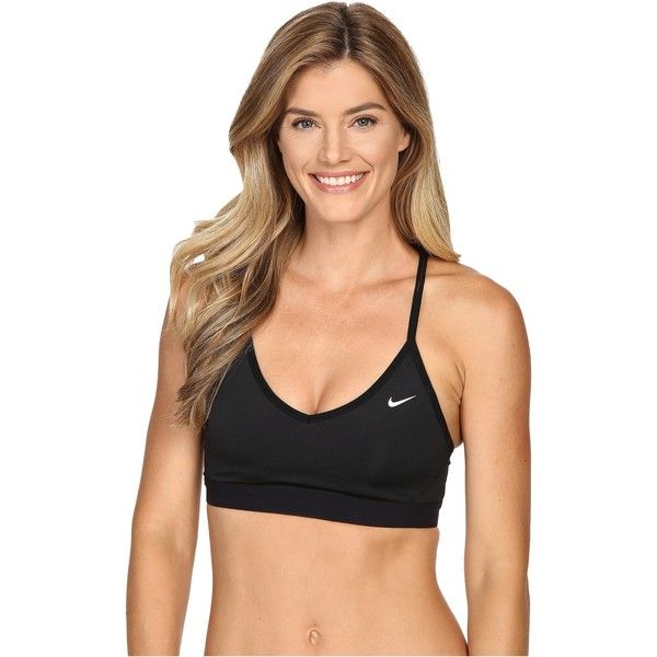 Nike Pro Indy Cross Back Light Support Sports Bra (Black/Black/White)