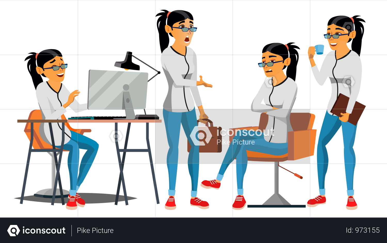 Premium Employee Working In Office On Desk Illustration Download In Png Vector Format Female Characters Business Women Asian Woman