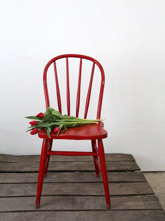 Reserve Vintage Wood Spindle Chair Red Painted Chair Painted Chair Painted Wood Chairs Lake House Furniture