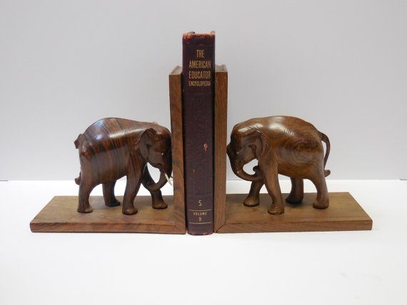 Vintage Wood Elephant bookends Carved Wooden by SalvageRelics