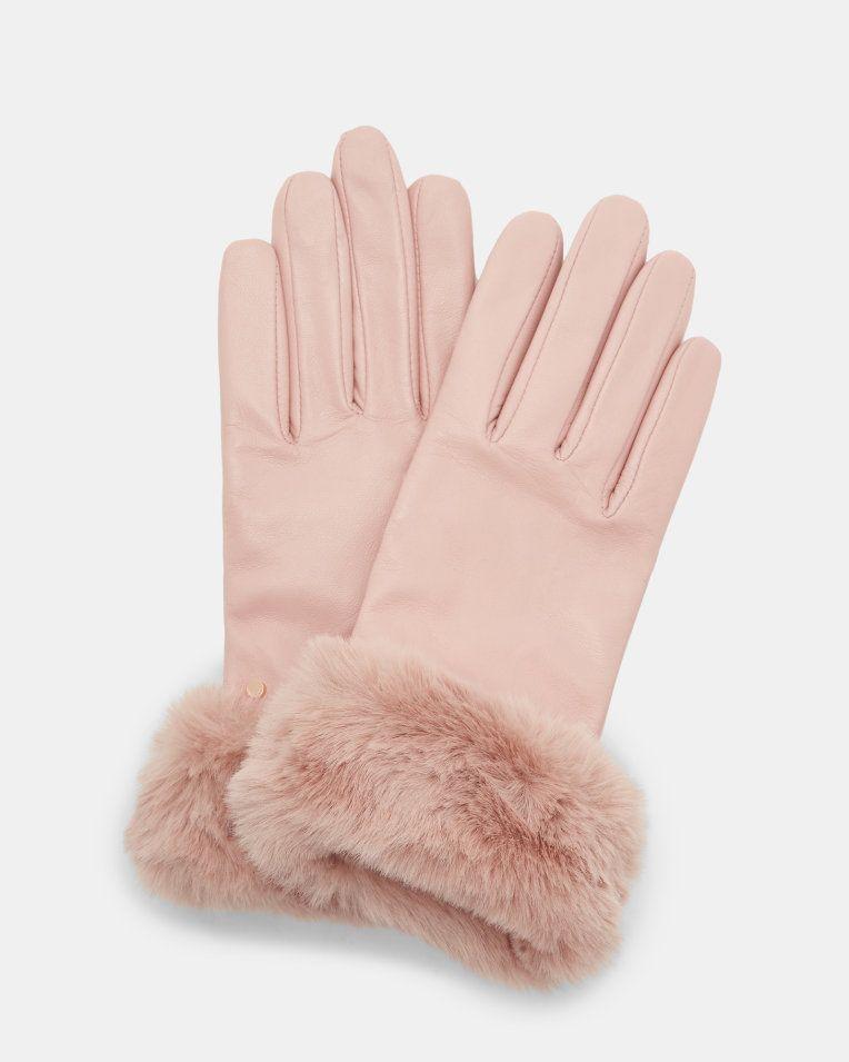 Handschuhe mit Kunstpelzborte - Hellrosa | Handschuhe | Ted Baker DE #gloves