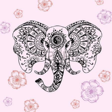 tete d elephant vector abstract l phant dans le dessin mehndi vector main de style indien. Black Bedroom Furniture Sets. Home Design Ideas